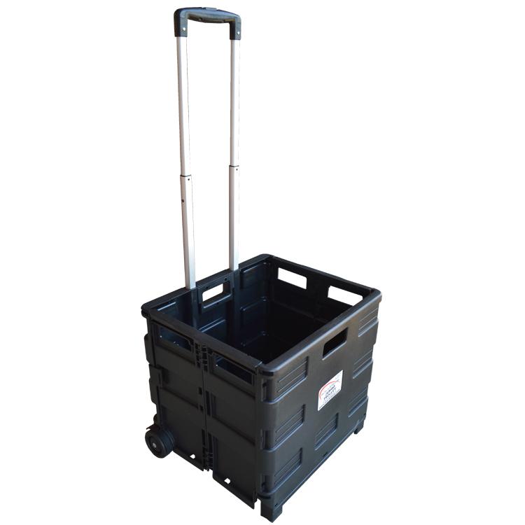 35KG Black Plastic Crate Trolley