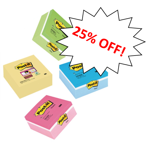 Post-It Note Cube 76x76mm Yellow, Blue, Pink or Green