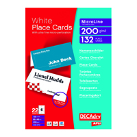Decadry Perf PlaceCard 85x46mm Wht Pk132