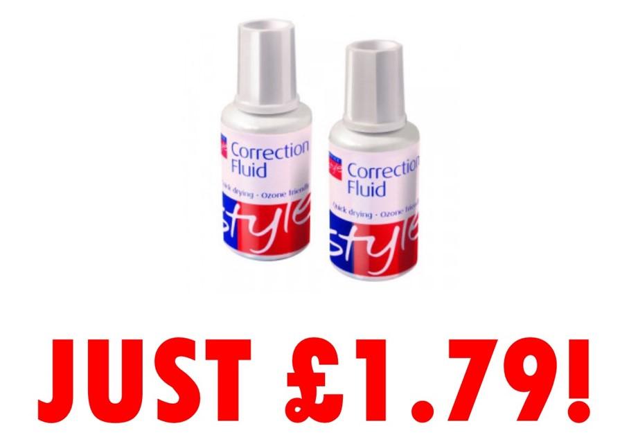 Office Style Correction Fluid 20ml (PK 10) - JUST £1.79!