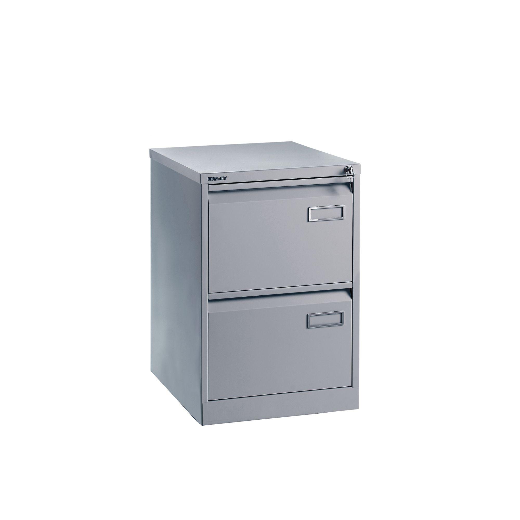 Bisley 2 Drawer Filing Cabinet Silver