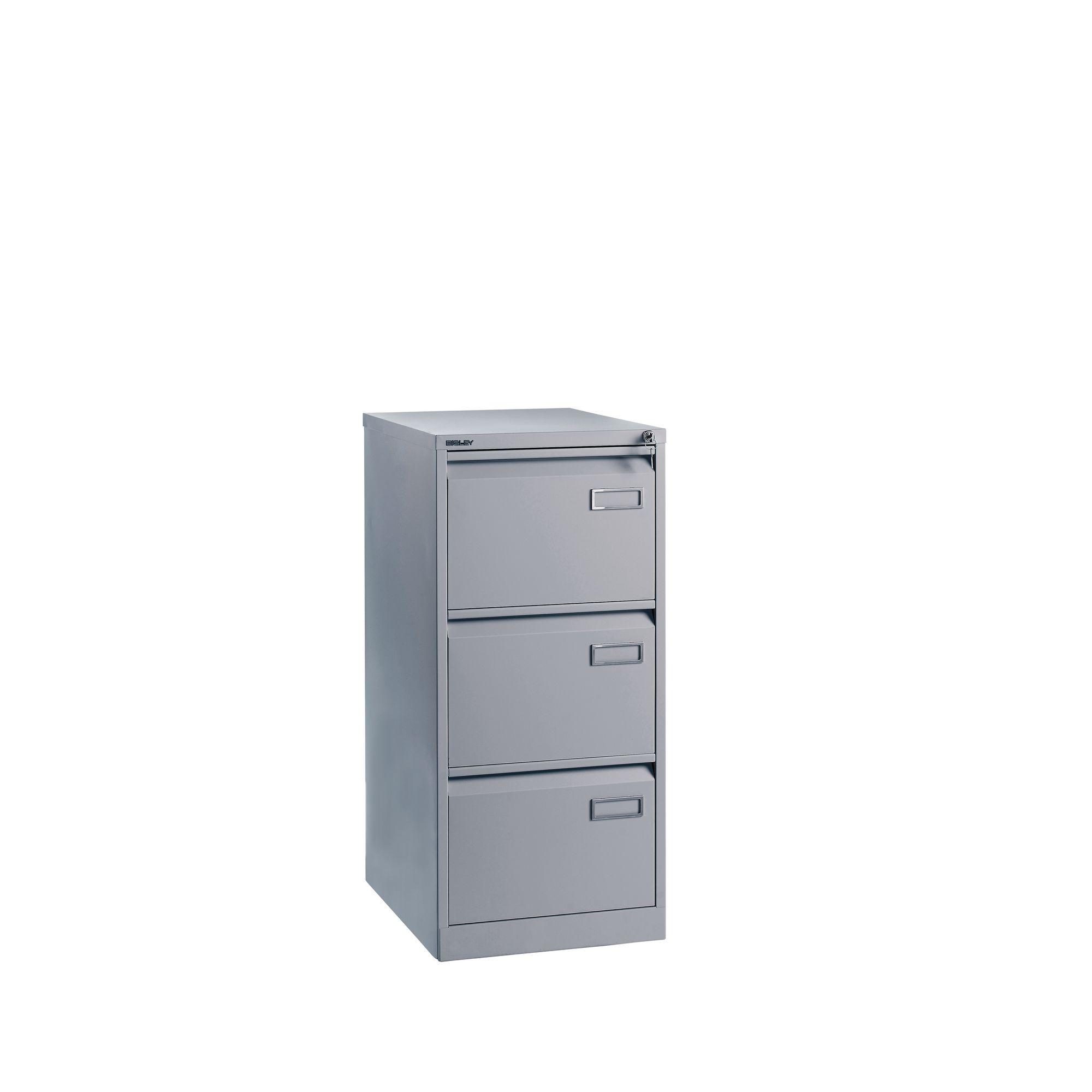 Bisley 3 Drawer Filing Cabinet Silver