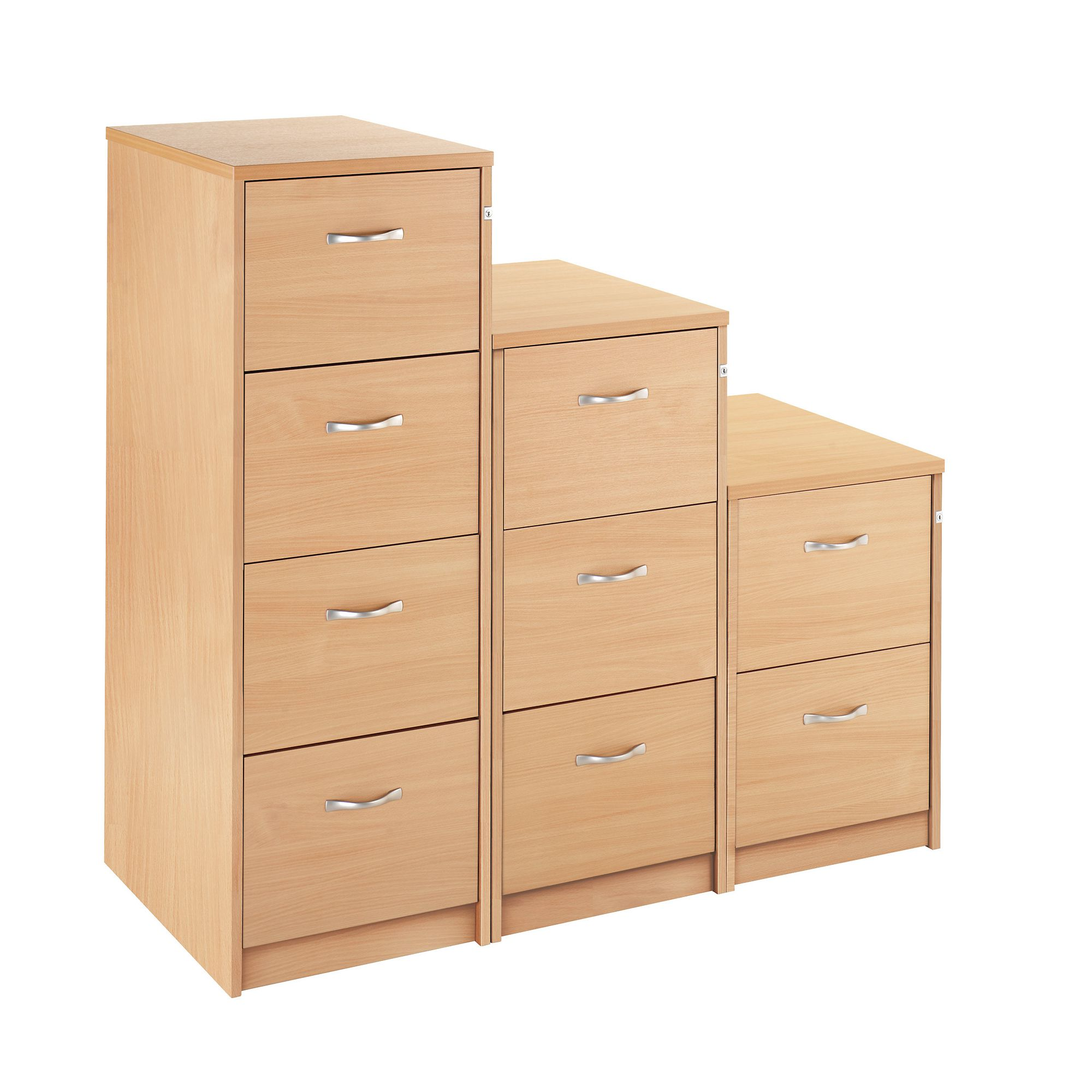 CM Wooden Filing Cabinet 4 Draw Beech