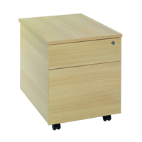 FF Jemini 2 Drawer Mobile Pedestal Oak