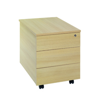 FF Jemini 3 Drawer Mobile Pedestal Oak