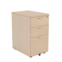 FF Jemini 3 Drw Desk High Ped 600 Maple
