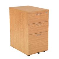 FF Jemini 3 Drw Desk High Ped 800 Oak
