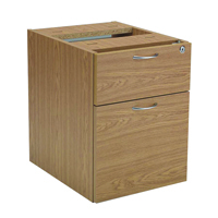 FF Jemini 2 Drawer Fixed Ped Oak