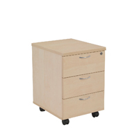 FF Jemini 3 Drawer Mobile Ped Maple