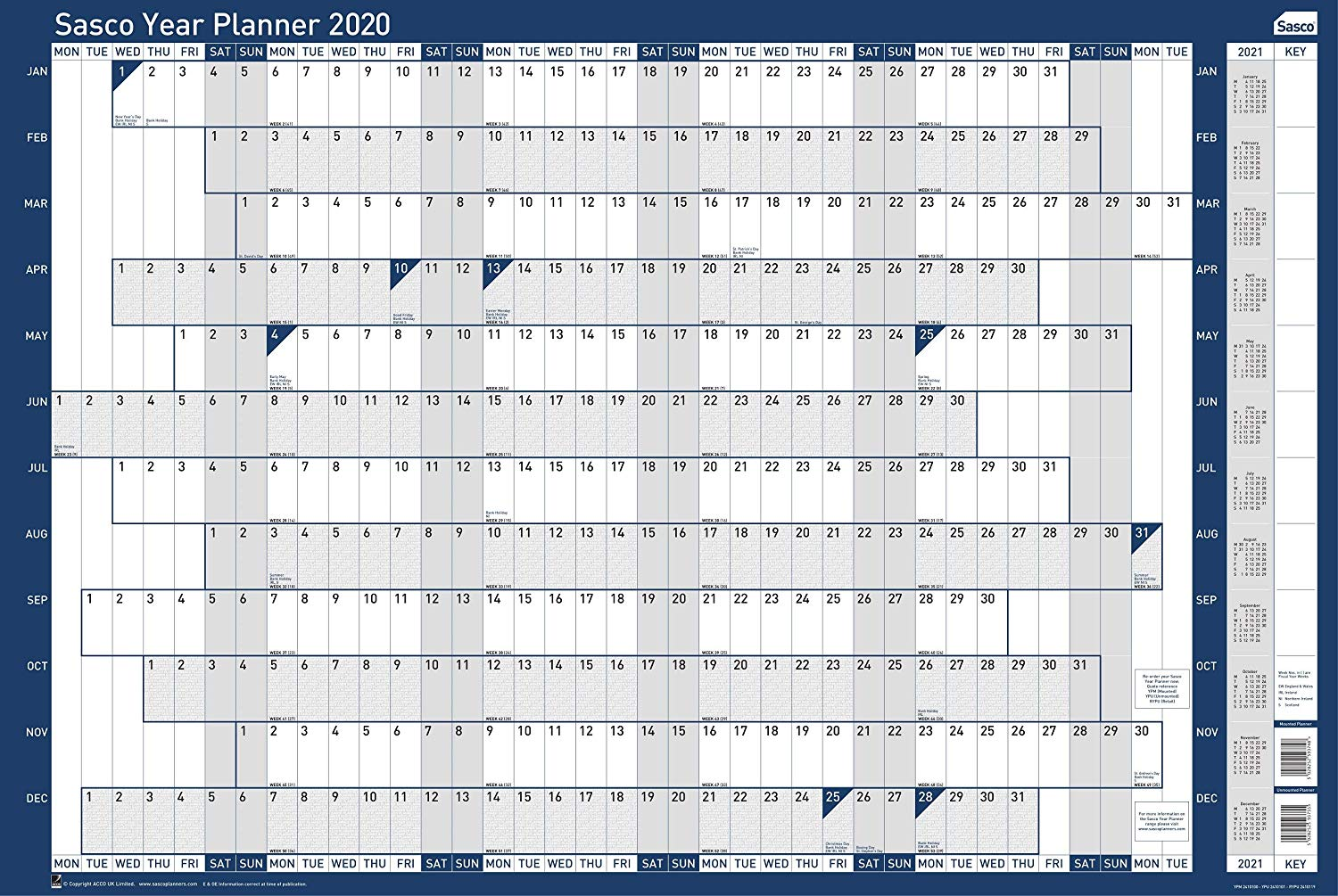 Sasco 2020 Unmounted Annual Holiday Planner Landscape