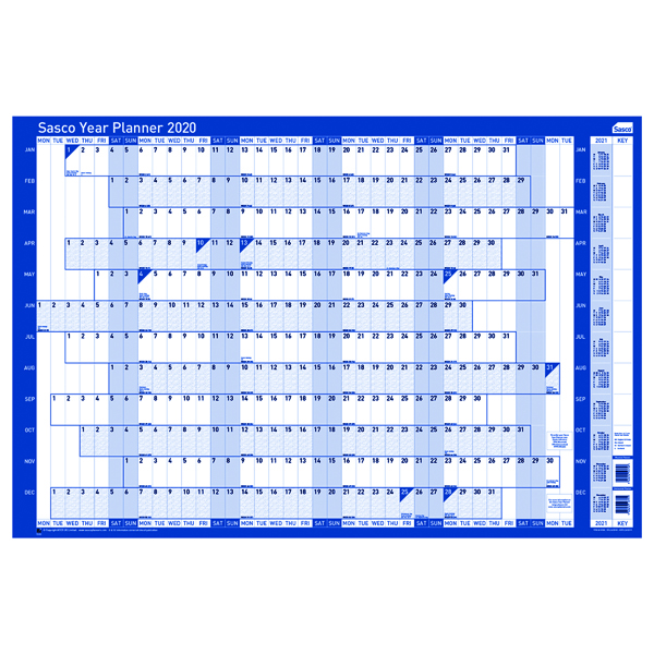 Sasco 2020 Unmounted Year Planner Landscape (2410101)