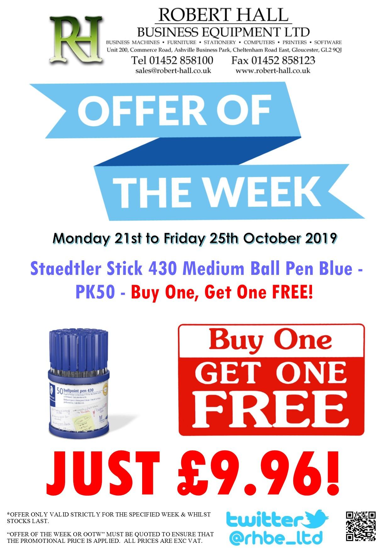 Offer Of The Week: Staedtler Stick 430 Pen Blue-PK50 BOGOF