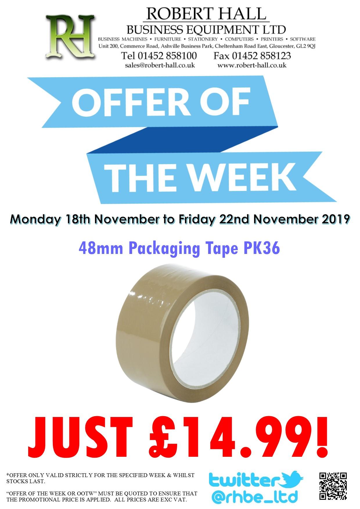 Offer Of The Week: 48mm Brown Packaging Tape PK36