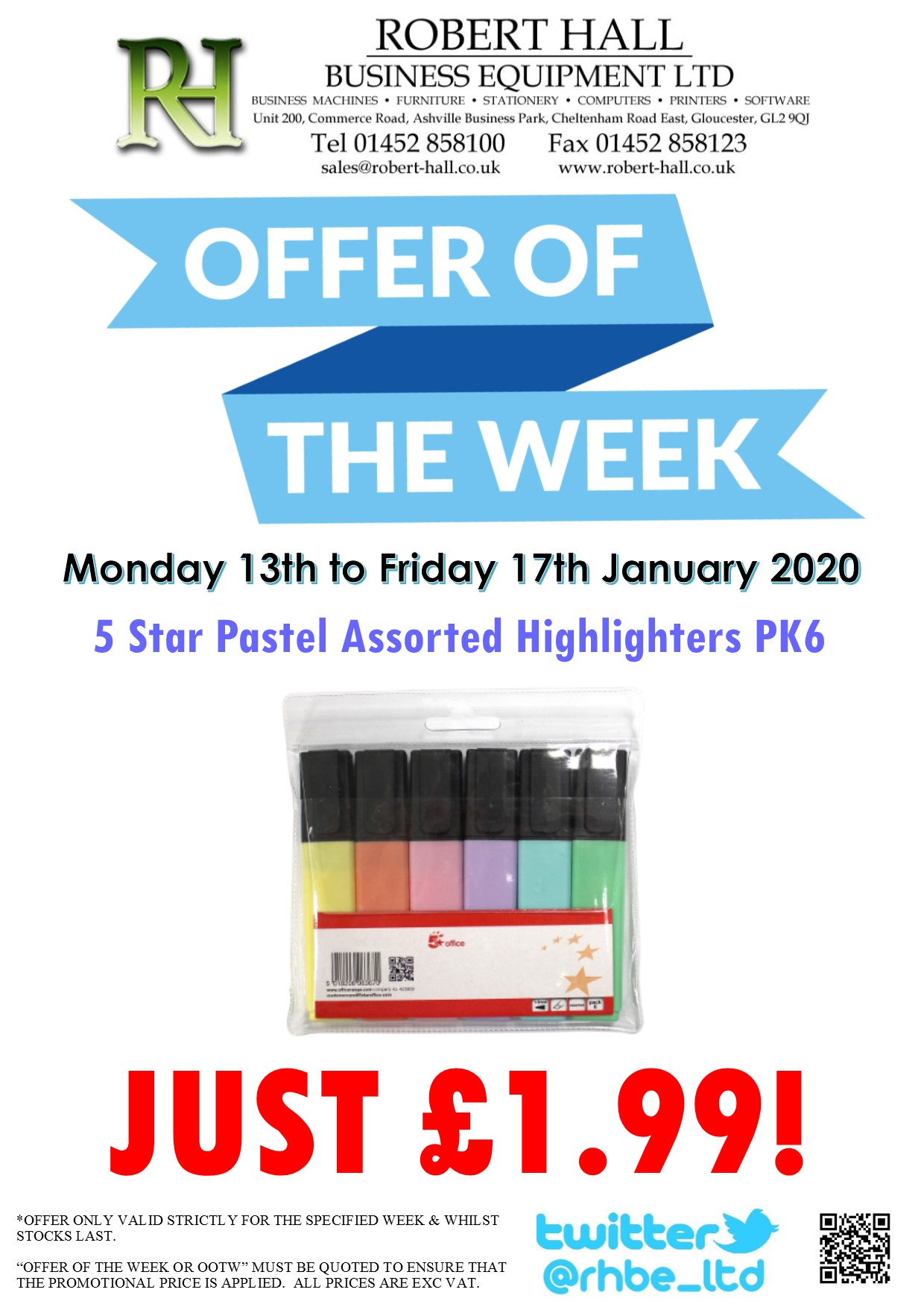 Offer Of The Week: 5 Star Pastel Asst Highlighters PK6