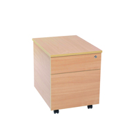 FF Jemini 2 Drawer Mobile Pedestal Beech