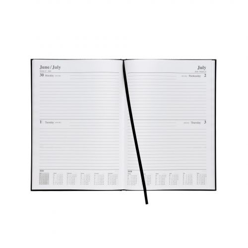 5 Star 2020 A4 2Day To Page Diary Black