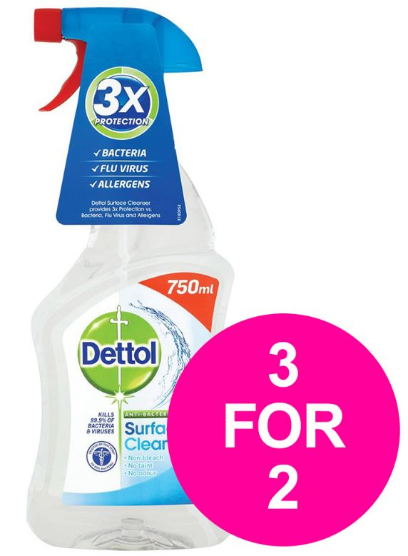 Dettol (750ml) Surface Cleanser Spray [3 For 2]