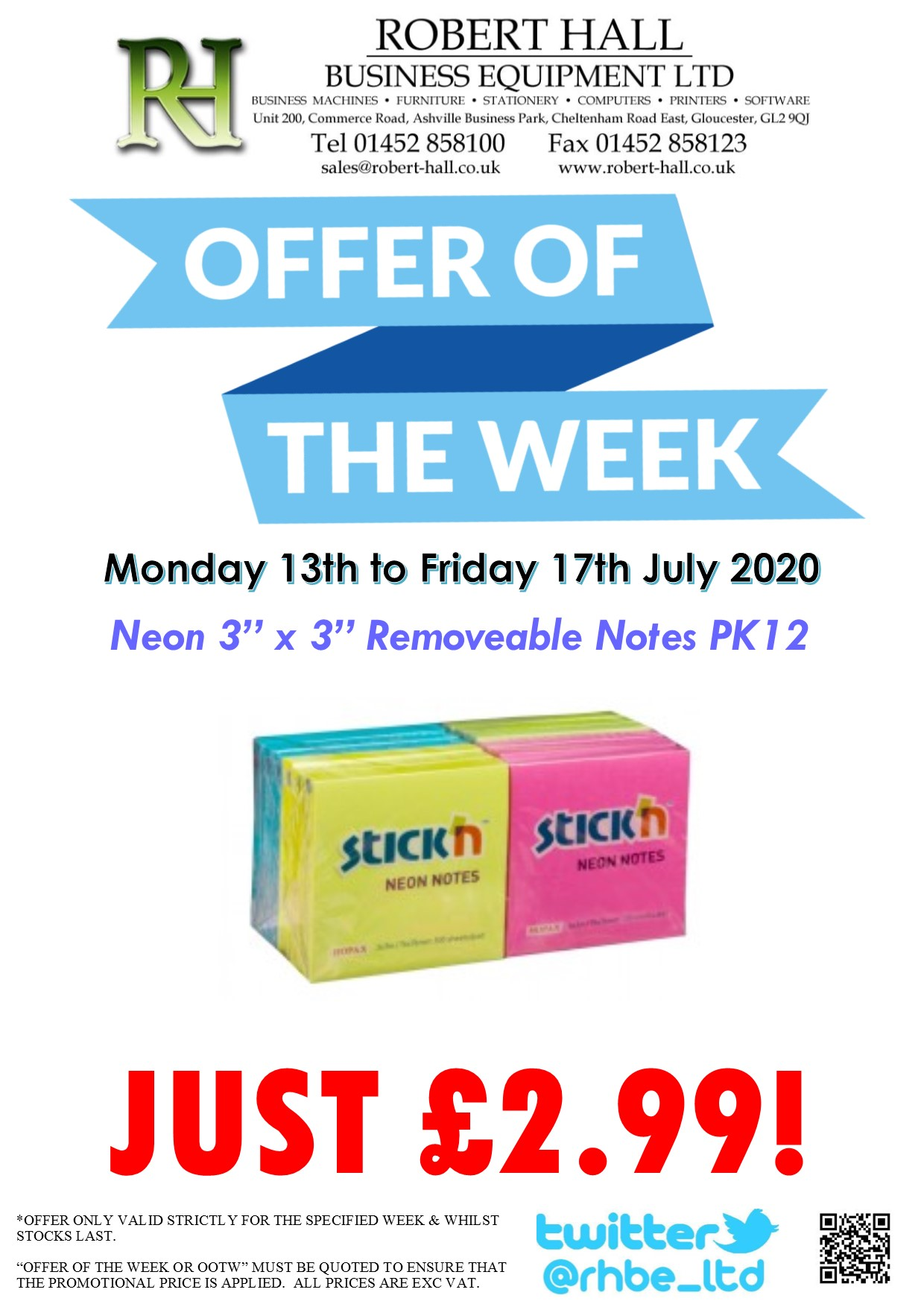 Neon 3x3 Removeable Notes PK12